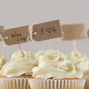 Vintage Hand Tied Brown Kraft Cupcake Decorations - cakes & treats
