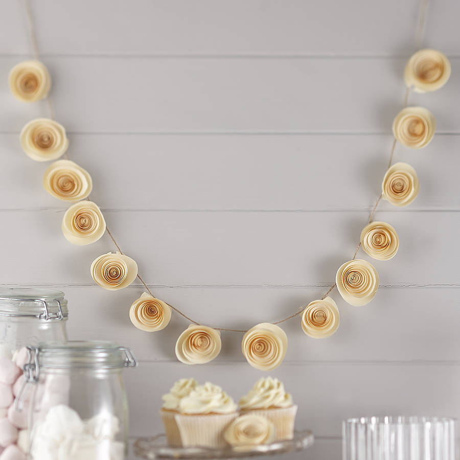 ivory paper flower garland wedding decoration by ginger ray
