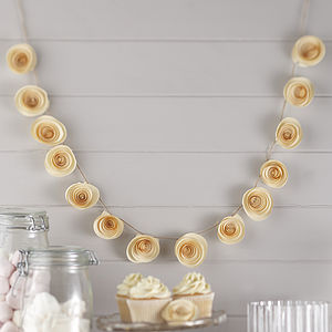 Ivory Paper Flower Garland Wedding Decoration - bunting & garlands