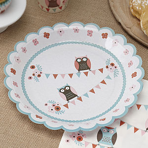 Patchwork Owl Party Paper Plates - kitchen