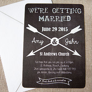 Chalkboard And Arrow Wedding Stationery - arrow inspired wedding styling