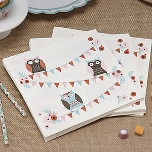 Patchwork Owl Party Paper Napkins - kitchen