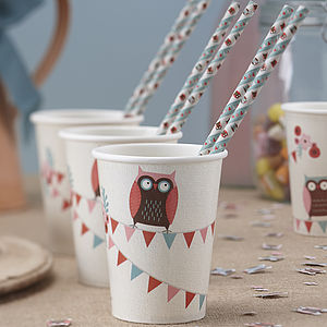 Patchwork Owl Party Paper Cups