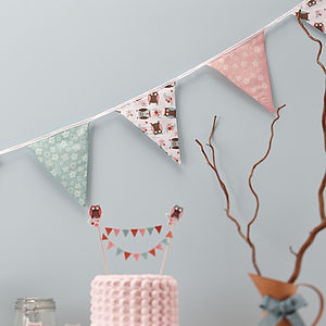 Patchwork Owl Party Fabric Bunting