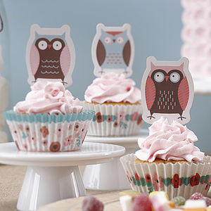 Patchwork Owl Party Cupcake Cases And Toppers - cake decoration