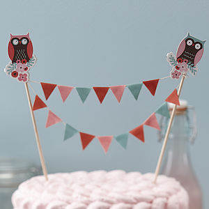 Patchwork Owl Cake Bunting Party Topper - kitchen