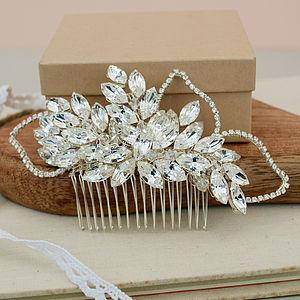 Mary Crystal Diamante Leaf Bridal Hair Comb - head pieces
