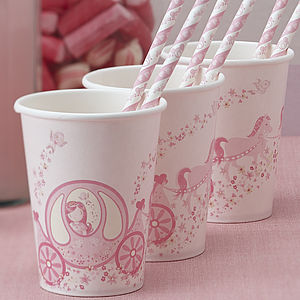Princess Carriage Pink Party Paper Cups - children's parties