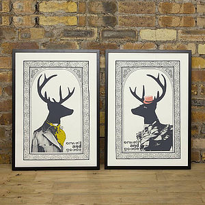 Set Of Two Mr And Mrs Dandy Deer Prints - try the trend: yellow and grey