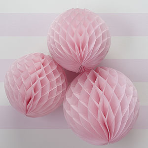 Pink Honeycomb Balls Hanging Decorations - bunting & garlands