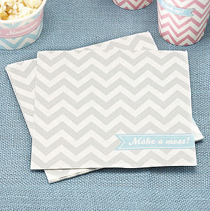Chevron Party Paper Napkins - tea for two
