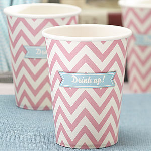 Pastel Pink Chevron Party Paper Cups - kitchen