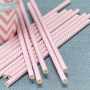Pastel Pink Chevron Party Paper Straws - winter sale