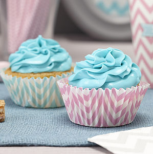 Pastel Pink And Blue Cupcake Cases - cake decoration