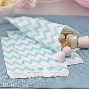 Powder Blue / Green Chevron Party Candy Bags - wedding favours