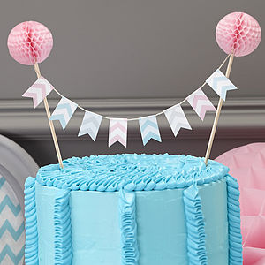 Honeycomb Chevron Cake Bunting Topper - macaron-inspired styling