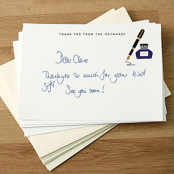 Personalised Pen And Ink Thank You Cards