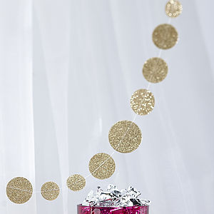 Gold Sparkling Glitter Hanging Garland - children's room