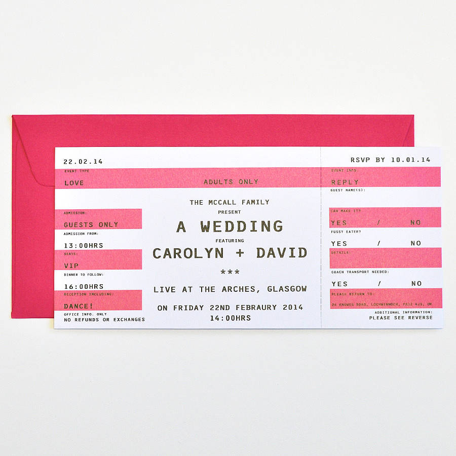 concert ticket wedding stationery by e y