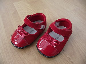 Red Real Suede And Patent Baby Shoes