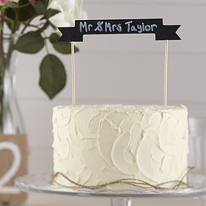 Vintage Chalkboard Wooden Cake Bunting Topper - retro inspired wedding decorations