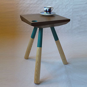 Coloured Walnut Side Table - furniture