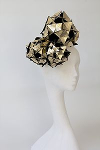 Metallic Leather Origami Trio Headpiece