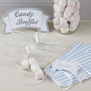 Blue Candy Bar Kit With Scoops, Bags And Sign - weddings sale