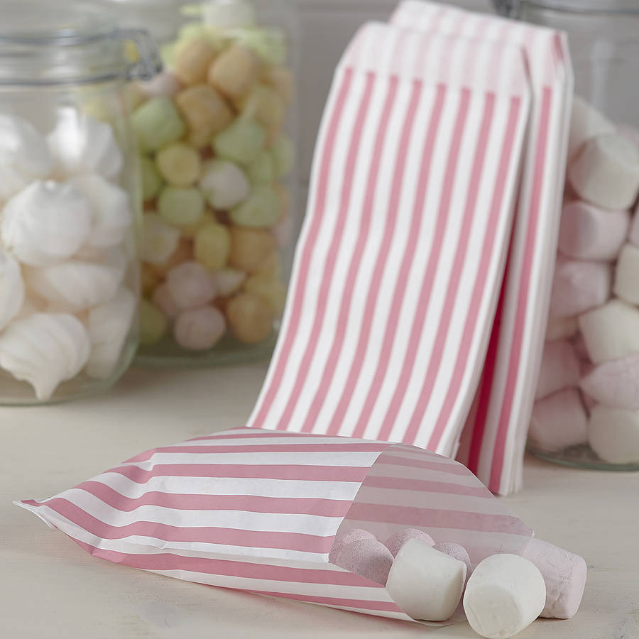 Pack Of 25 Pink Striped Candy Bags