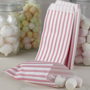 Pack Of 25 Pink Striped Candy Bags - favour bags, bottles & boxes