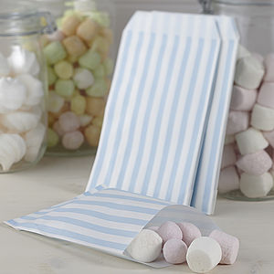 Pack Of 25 Blue Striped Candy Bags - favour bags, bottles & boxes