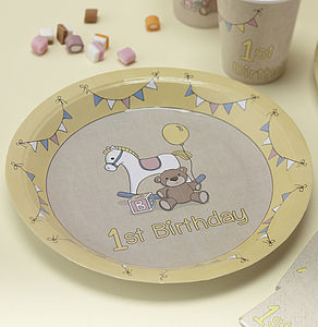 1st Birthday Rock A Bye Party Paper Plates - dining room