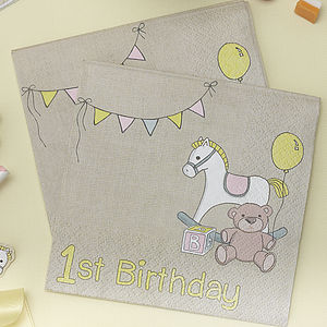 1st Birthday Rock A Bye Party Paper Napkins - children's parties