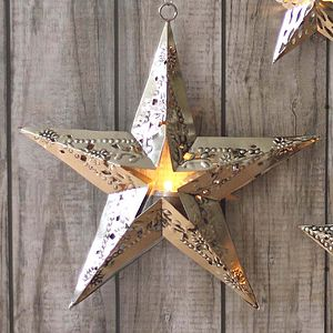 Large Embossed Cut Out Star T Light - candles & candlesticks