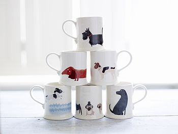 Set Of Six Dog Mugs