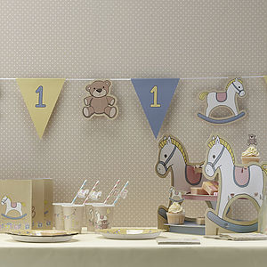 1st Birthday Boys Party Paper Bunting - children's room accessories