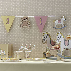 1st Birthday Girls Party Paper Bunting - children's room accessories