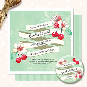 Personalised Floral Wedding Stationery - save the date cards
