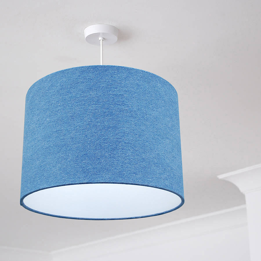 mid wash denim fabric drum lampshade by quirk | notonthehighstreet.com