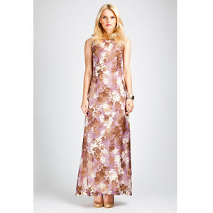 Floral Print Silk Maxi Dress - women's sale