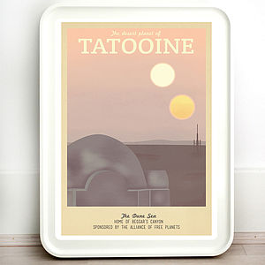 Star Wars Tatooine Retro Travel Print - posters & prints