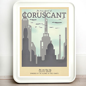 Star Wars Coruscant Retro Travel Print