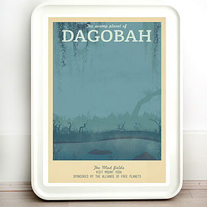 Star Wars Dagobah Retro Travel Print