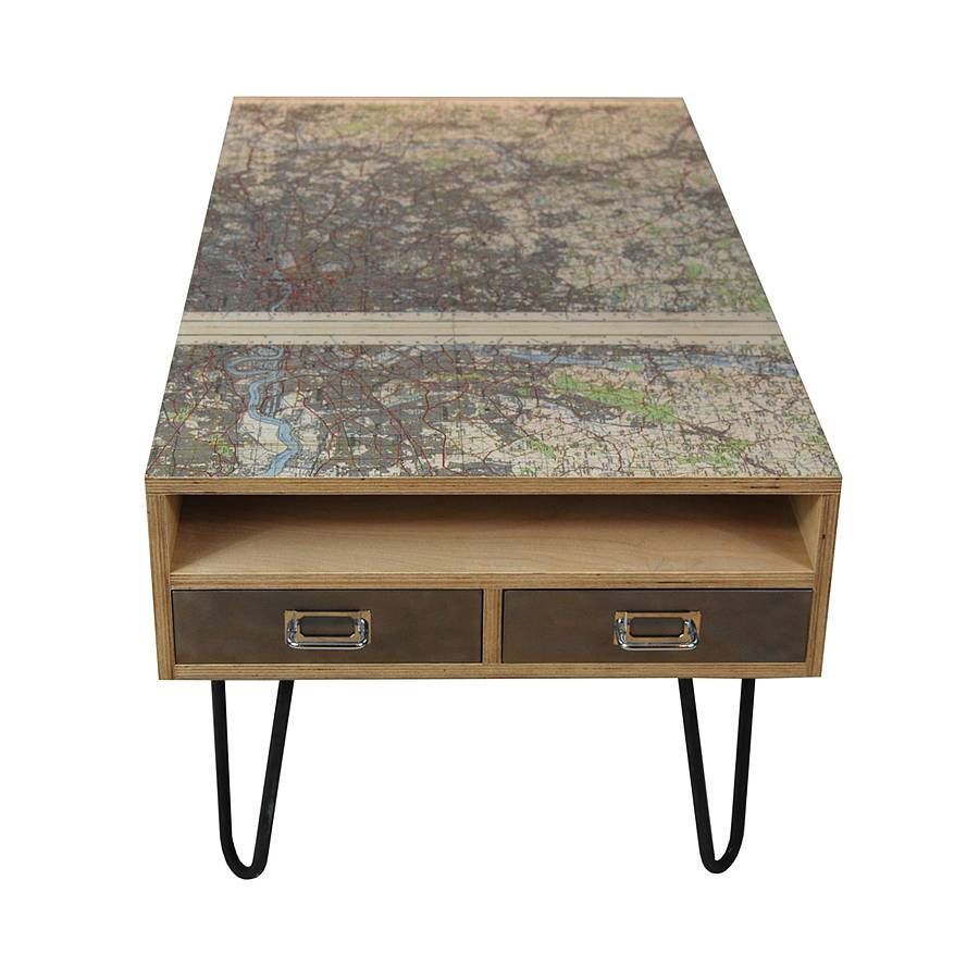vintage london map coffee table by tilt originals