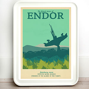 Star Wars Endor Retro Travel Print - posters & prints