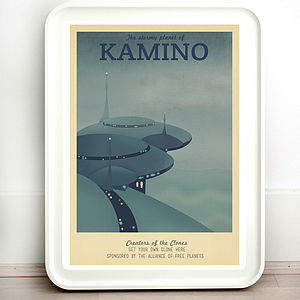 Star Wars Kamino Retro Travel Print