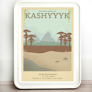 Star Wars Kashyyyk Retro Travel Print