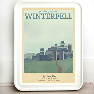 Game Of Thrones Winterfell Retro Travel Print - gifts for geeks