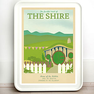 Lord Of The Rings Shire Retro Travel Print