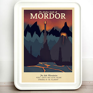 Lord Of The Rings Mordor Retro Travel Print